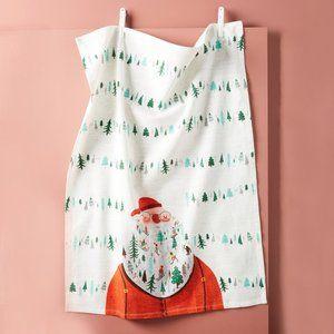 Anthropologie Julia Green Jolly Santa Dish Towel